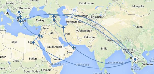 travel itinerary map