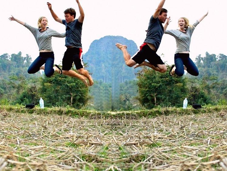 jumping photo, Laos