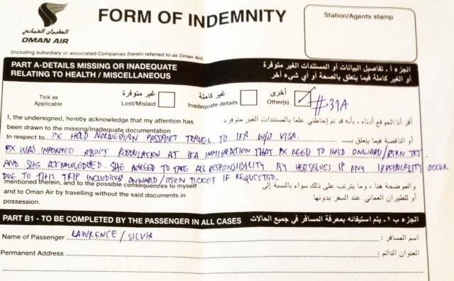 Oman Air form indemnity