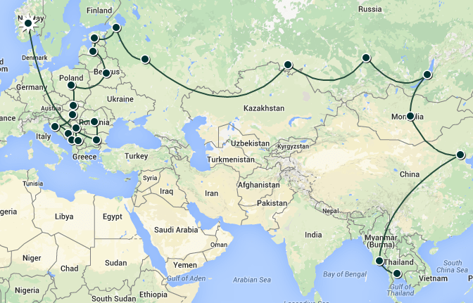 Spring 2015 travel itinerary
