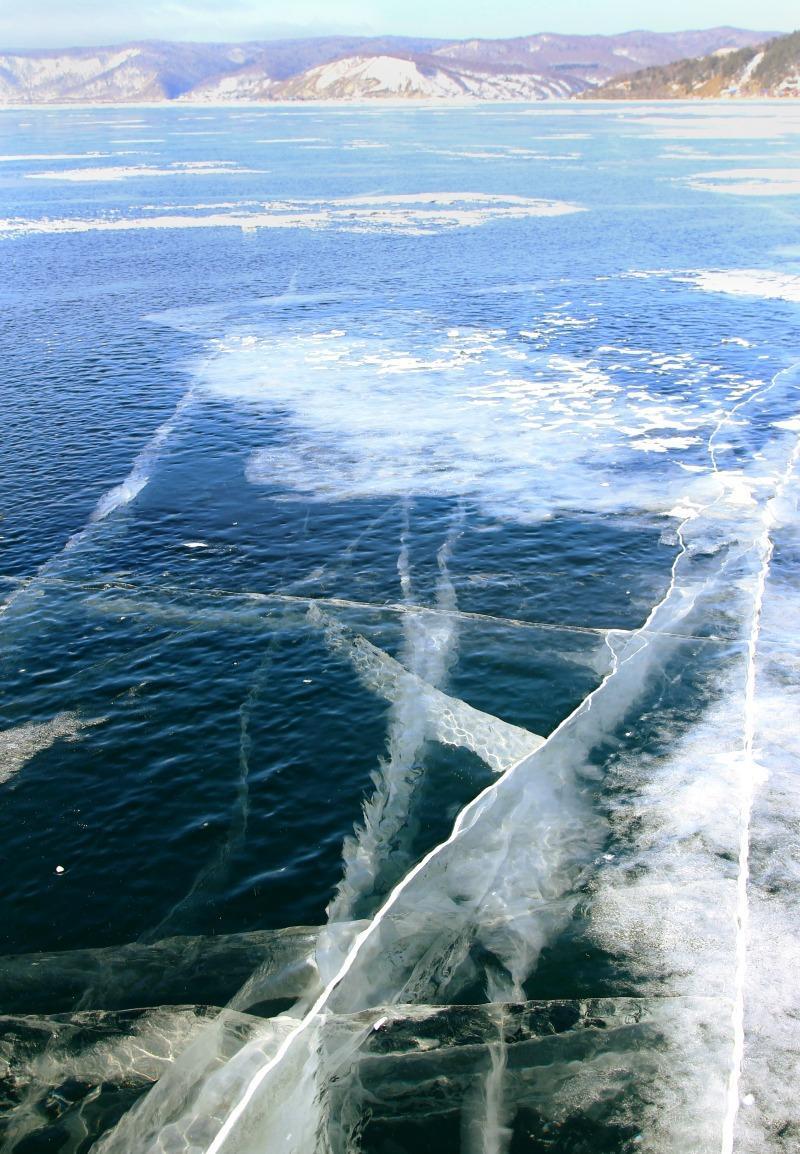 frozen Lake Baikal, Russia, winter
