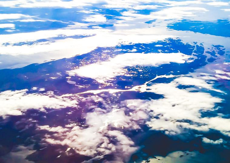 Flying over Norway fjords