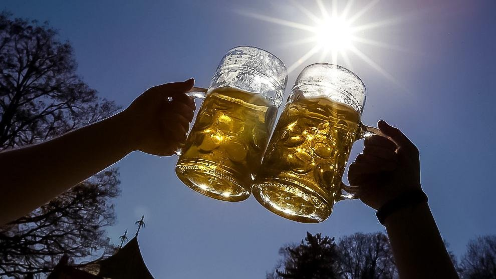 People_pose_for_a_photograph_as_they_toast_with_beer_on_a_sunny_