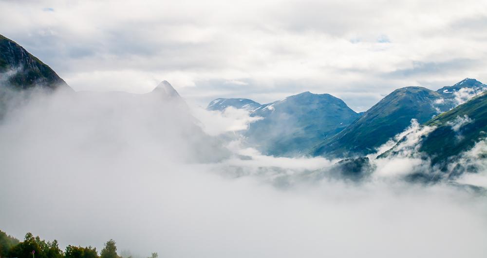 Geirangerfjord Geiranger Norway fog clouds