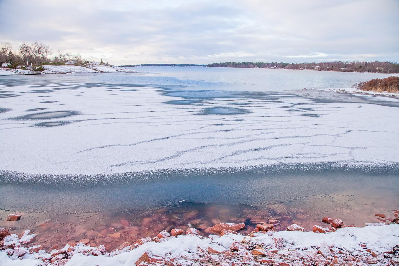 åland islands frozen winter snow