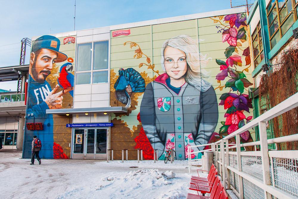 myyrmäki train station street art vantaa finland