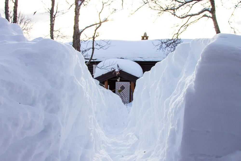 snowy cabin norway winter deep snow