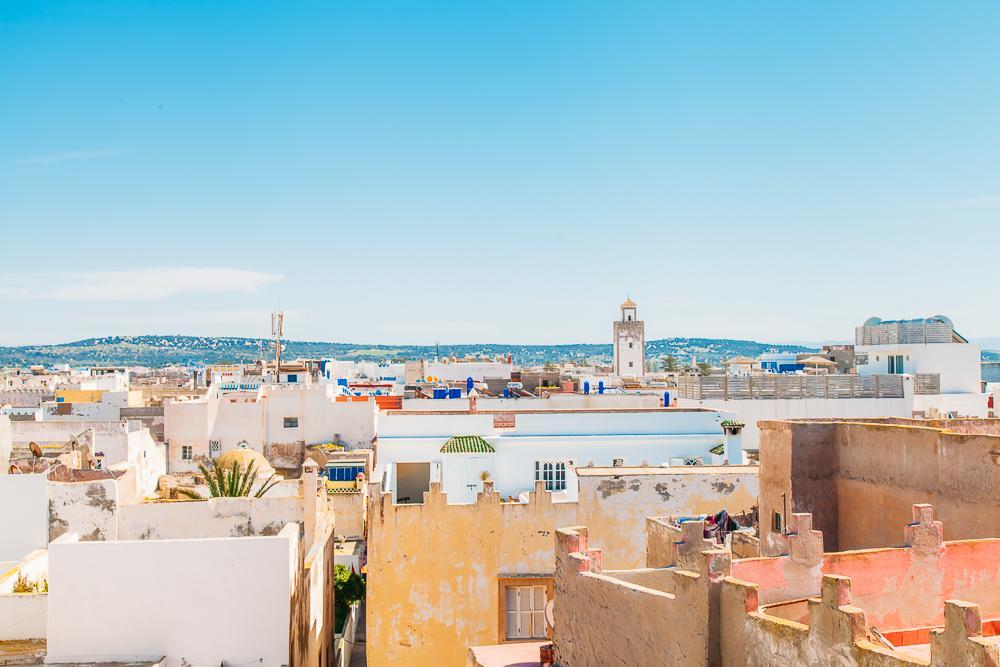 view over essaouira beach downtown morocco
