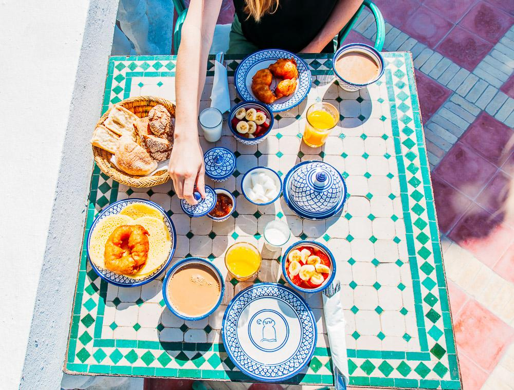 breakfast at villa maroc in essaouira, morocco