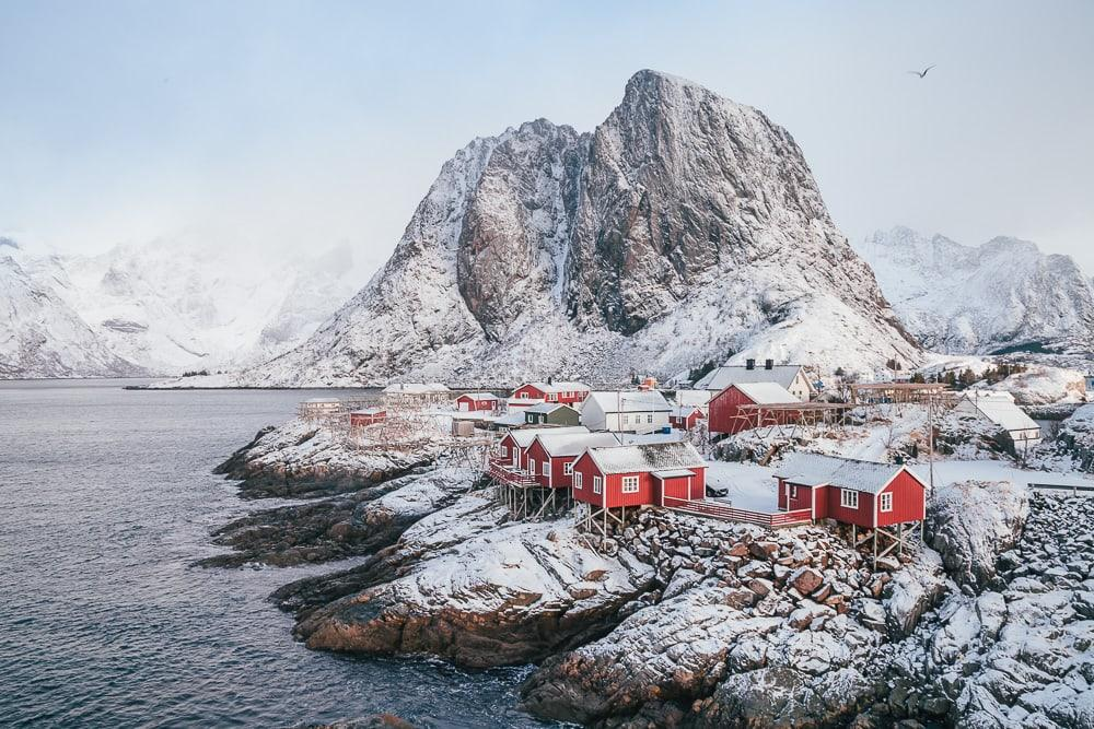 reine rorbuer lofoten norway in winter