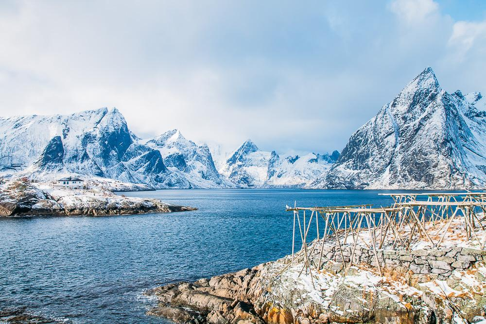 hamnøy reine, lofoten norway winter march snow