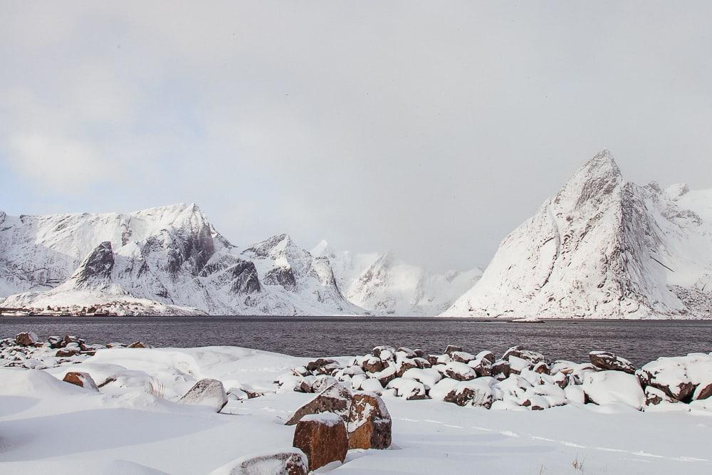 hamnøy rorbuer lofoten norway in march with snow