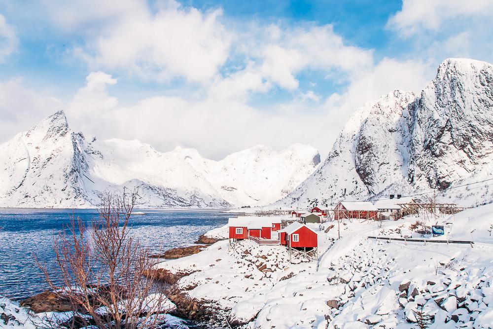 nusfjord lofoten norway winter march snow