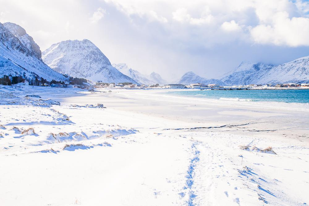Ramberg beach rambergstranda lofoten norway winter snow ice march