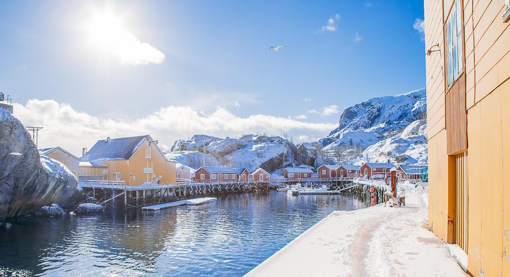 nusfjord norway lofoten in winter, march snow