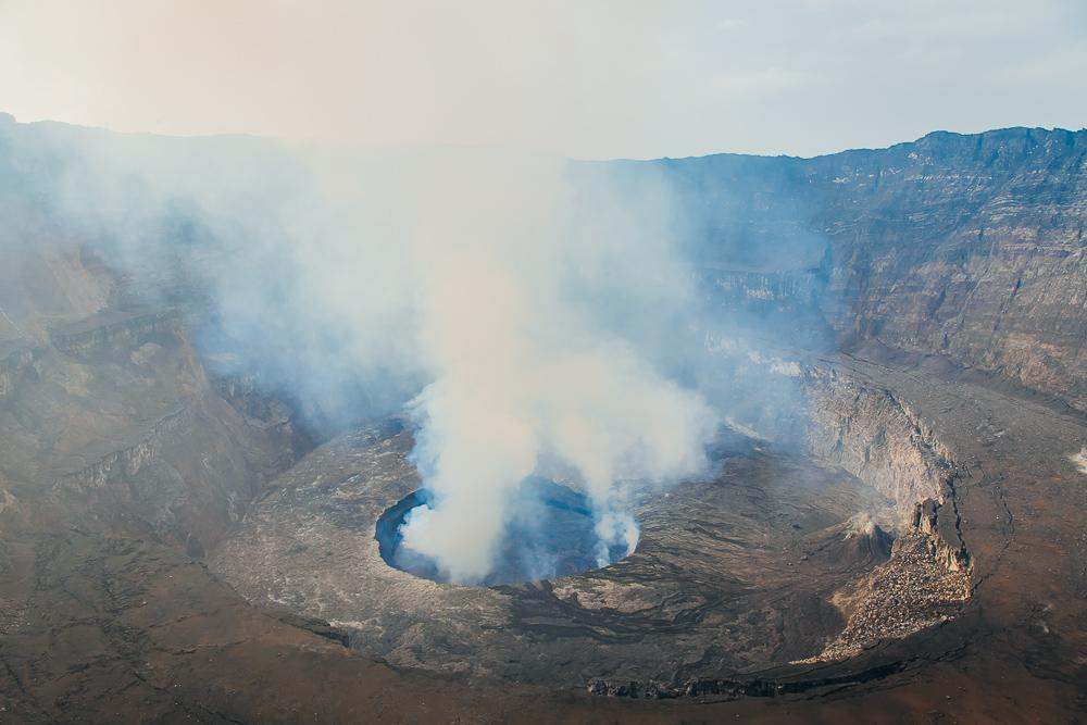 top of mount nyiragongo congo volcano daylight