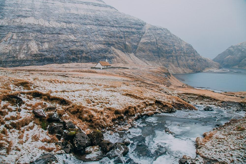 Saksun faroe islands in snow winter february