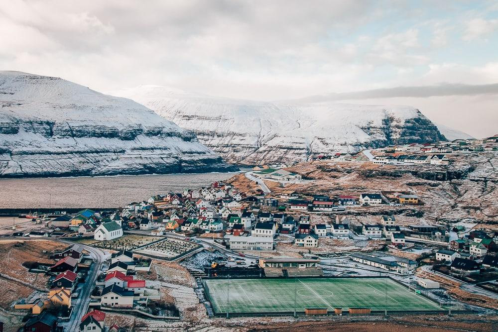Eiði football pitch faroe islands in winter