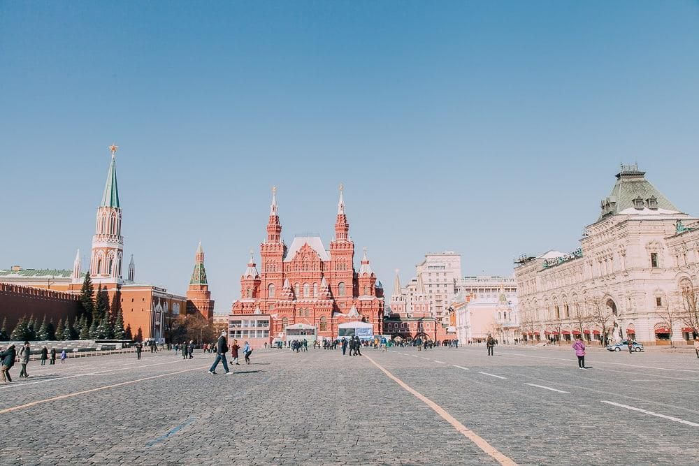 moscow red square in march winter