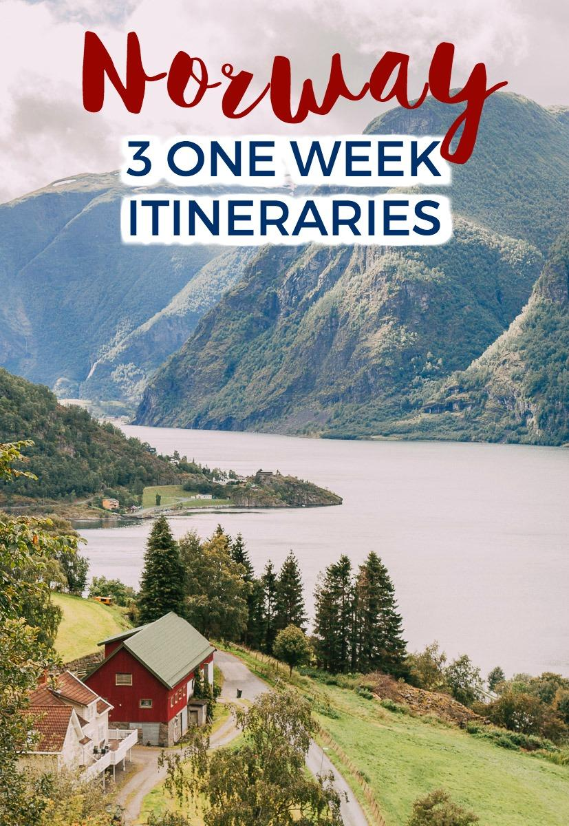 Three complete Norway itineraries for one week in Norway, either by car as a Norway road trip, or with public transportation in Norway