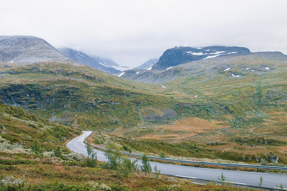 driving through norwegian mountains