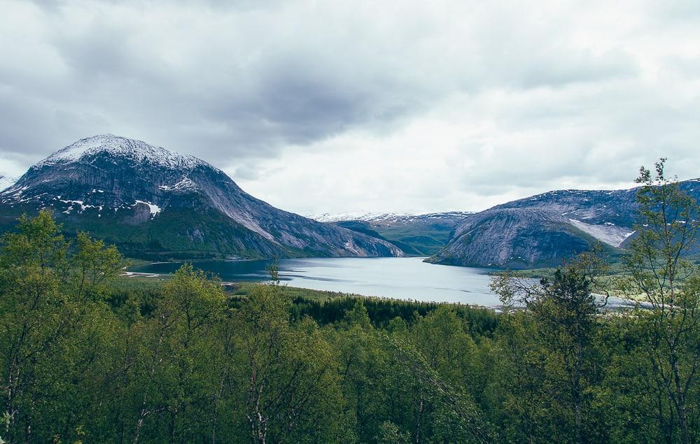 drive to narvik, northern norway in june