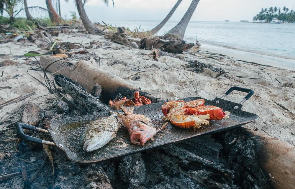 grilling lobster san blas islands sailing panama