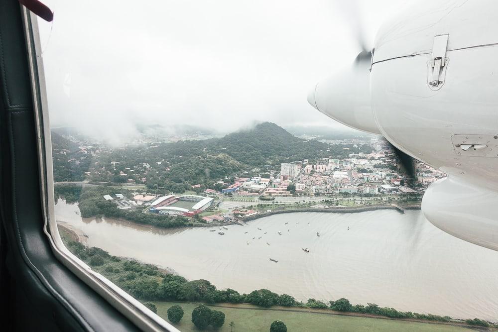 private plane over panama city panama