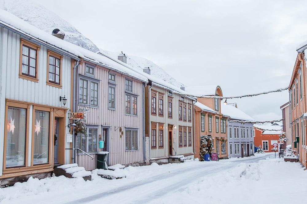 Christmas on Sjøgata Mosjøen Northern Norway winter