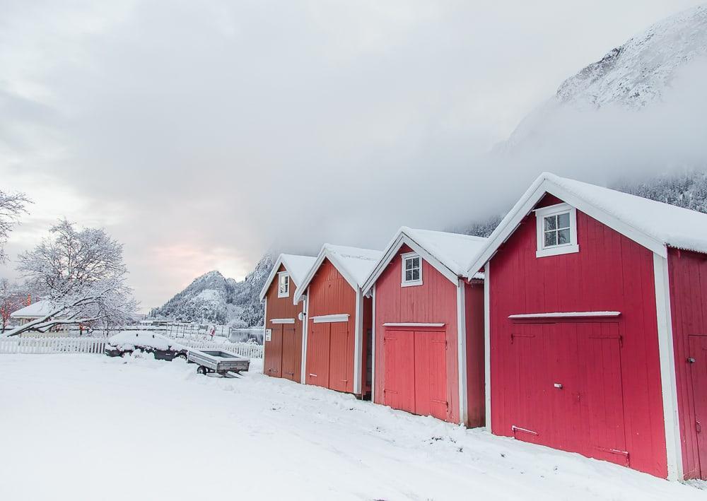 Christmas on Sjøgata Mosjøen Northern Norway winter snowy