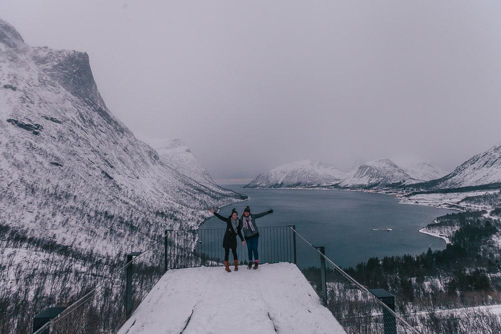bergsbotn senja viewpoint in winter, norway