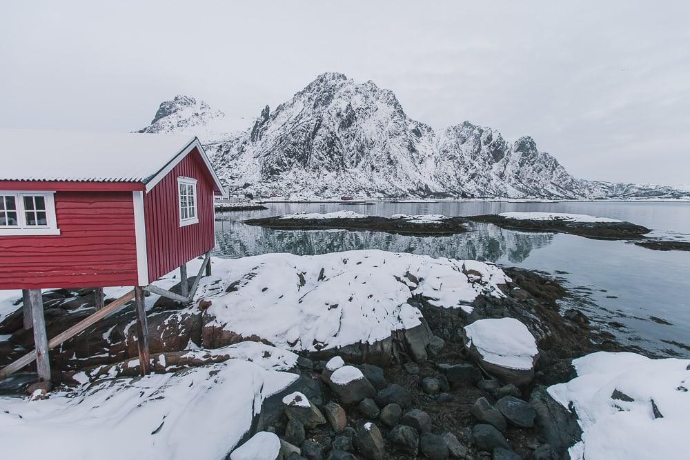 svinøya svolvaer lofoten norway in january snow