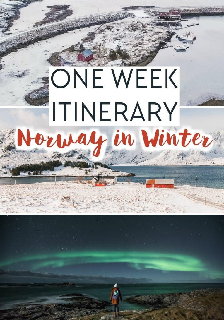One week Norway itinerary for Northern Norway in winter, including Bodø, Helgeland, Lofoten, Vesterålen, and Senja to see the Northern Lights, reindeer, huskies, etc.