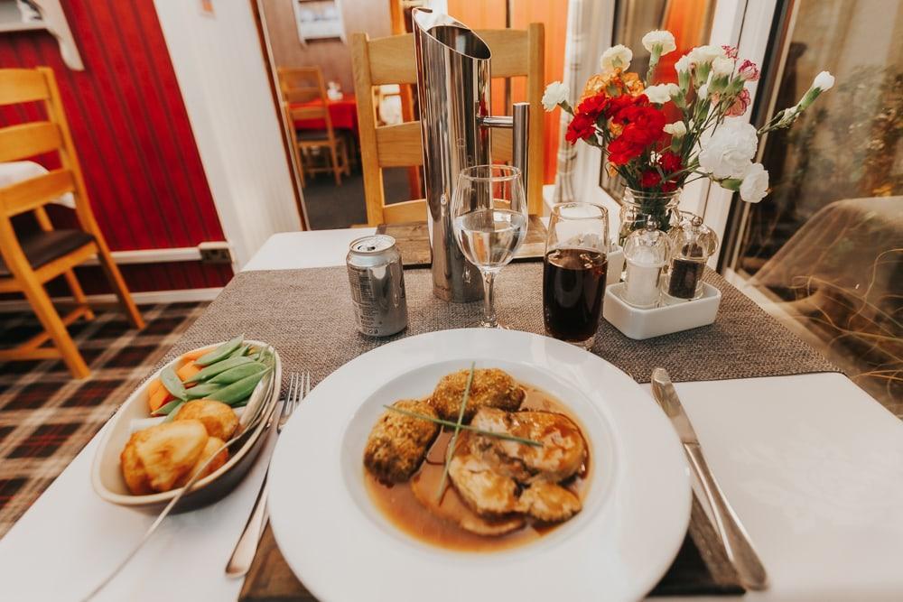 dinner at drumquin restaurant brae shetland