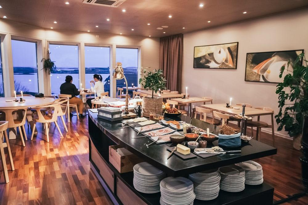 breakfast buffet at lovund hotell norway