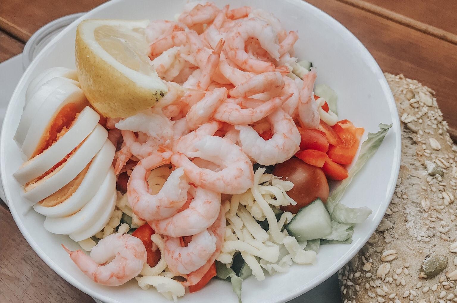 shrimp salad trygstad bakeri røros, norway