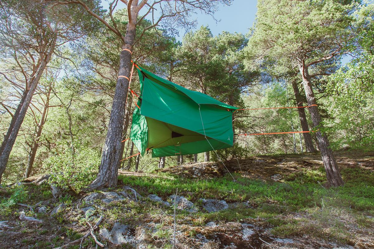 camping tree tent Isfjorden, on Romsdalsfjord in Norway