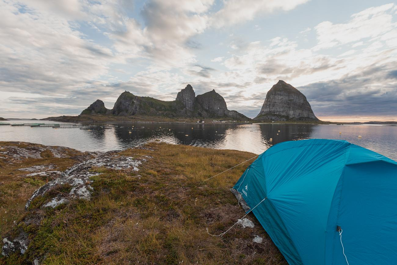 wild camping on husøya, træna, Norway